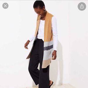 LOFT Colorblock Pocket Sweater Vest M